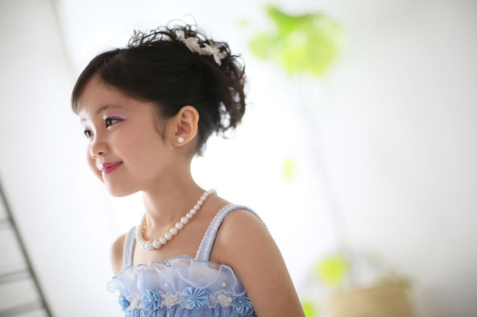 七五三七歳7才着物帯髪飾り袖和衣裳ドレス青緑葉っぱカジュアル