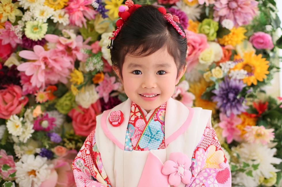お花バックかわいいピンク3歳3才七五三髪飾り被布