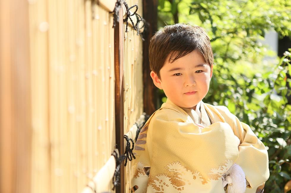 七五三男5歳5才和室紺色羽織袴畳イケメンかっこいい髪形ロケーション緑